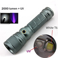 UV LED Flashlight + CREE XM-L T6 tactical led flashlight 2000 lumens Rotate the zoom uv led flashlight rechargeable + 18650