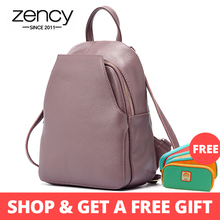Zency Women's Genuine Leather Backpacks Ladies Fashion Travel Bags Femal Daily Holiday Knapsack Preppy Style Girl's Schoolbag
