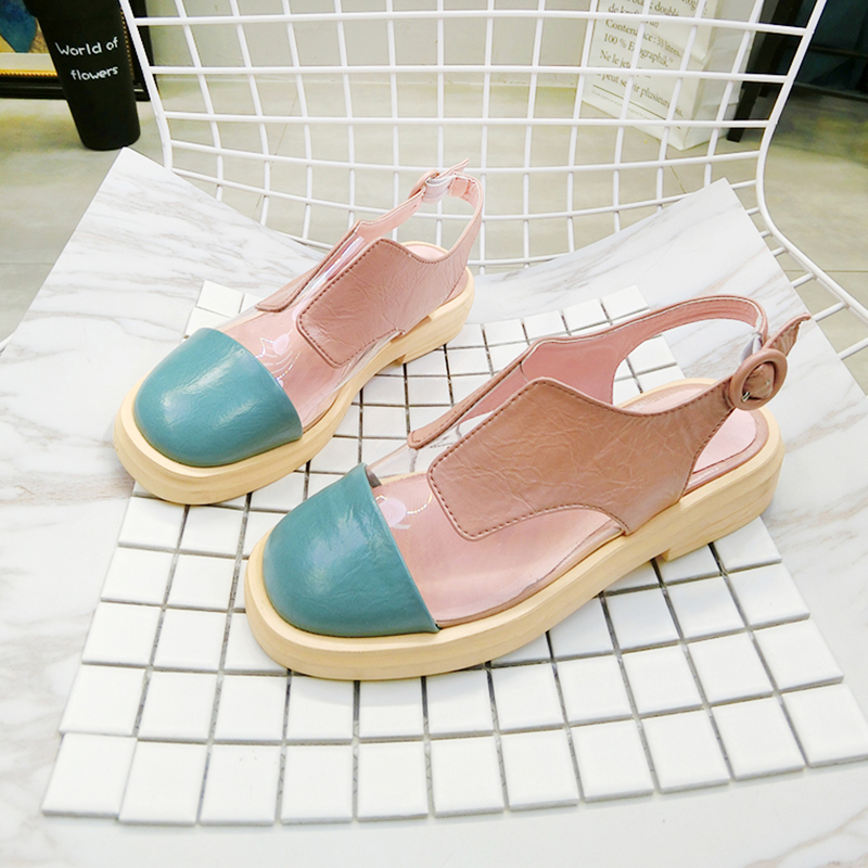 Womens Sandals 2019 Summer Fashion Leather Low Heel Female Shoes Candy Color Closed Toe Woman Summer Sandals Comfortable ShoesWomens Sandals 2019 Summer Fashion Leather Low Heel Female Shoes Candy Color Closed Toe Woman Summer Sandals Comfortable Shoes