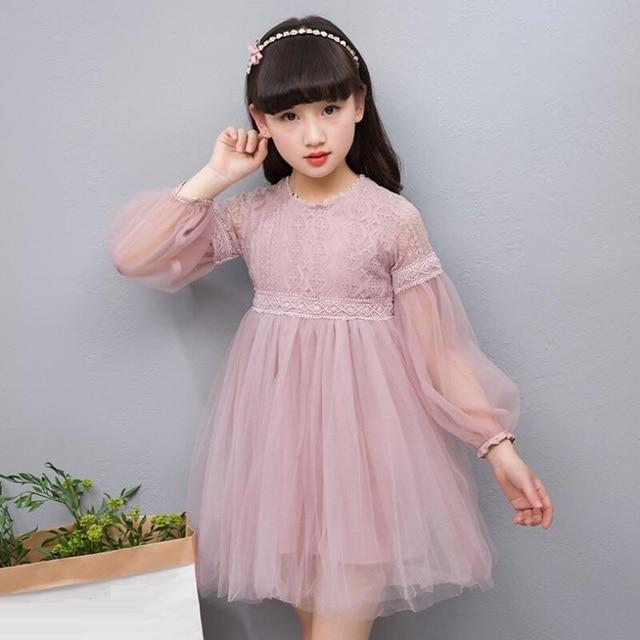 43368bfdc 2018 primavera adolescente niña Encaje vestido ropa niños Vestidos para  Niñas princesa cumpleaños fiesta manga larga
