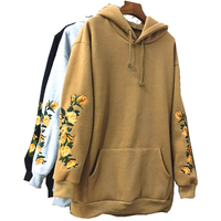 European American Apparel Hooeded Sweatshirt Women Elegant Embroidery Flowers Long Sleeved Pullover Fashion High Quality Hoodies