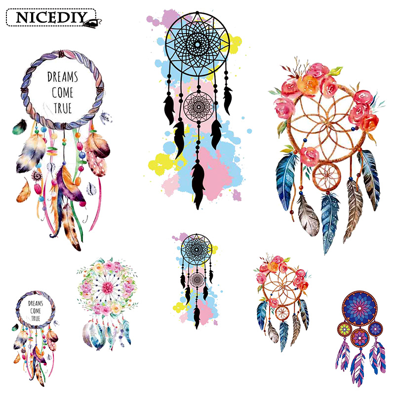 Nicediy Fashion Feather Wind Chimes Patches Heat Transfer Vinyl Sticker Iron On For Clothing Washable Applique Badge DIY