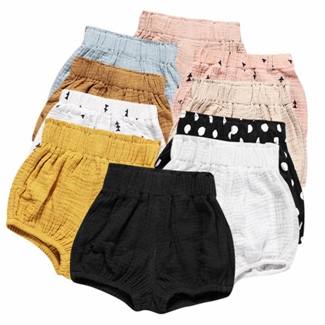 0-5Y Kawaii Newborn Baby Bloomers Shorts PP Pants Cotton Linen Triangle Solid Dot Bobo Bebe Girls Shorts Summer Trouser Toddler