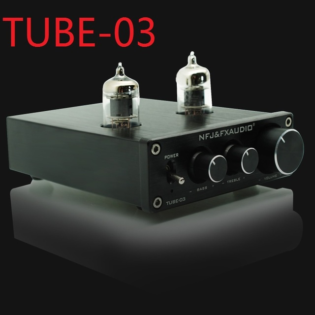 2019 FX Audio New TUBE 03 미니 오디오 튜브 프리 앰프 DAC 오디오베이스/트레블 조절 가능 DC12V/1.5A 전원 공급 장치