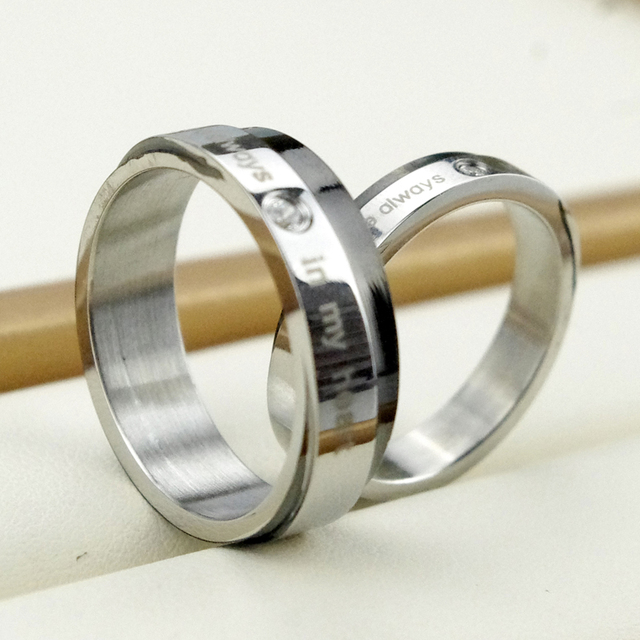 hers titanium gold wedding handmade and layer item his lover promise plating bands pure rings