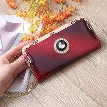 Купить с кэшбэком Patent Leather Women Wallets Zipper Coin Pocket Chain Female Long Card Holders Wallet Ladies Phone Clutch Purse for Wedding W042