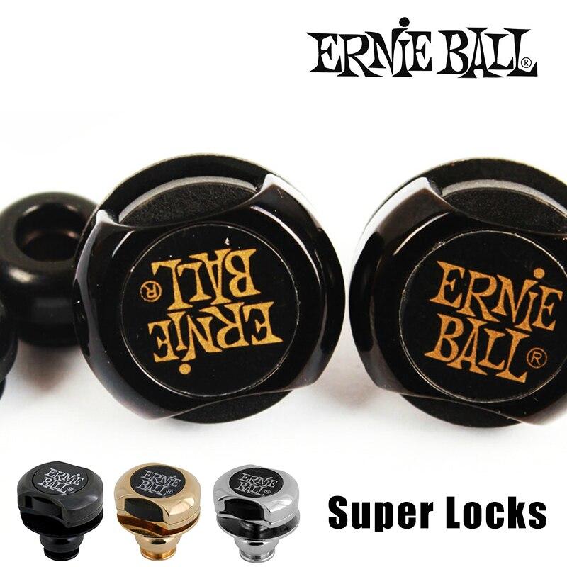 Original Ernie Ball Super Locks/ Guitar Strap Locks, Black/ Gold/Nickel ernie ball ernie ball 2833