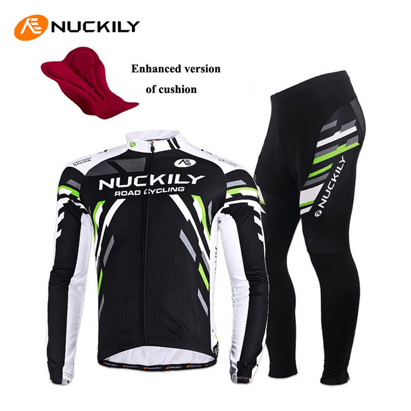 NUCKILY Quick Dry Anti-UV Long Sleeve Bicycle Jerseys Sets Windproof Cycling Clothing Gel Padds Bike Pants Cycling Jerseys Sets 2016 couple long sleeve bike riding jerseys sets quick dry gel breathable pad stretchable 3d cutting cycling clothing equipment
