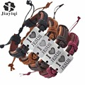 Jiayiqi 4PCS/SET Fashion Vintage Genuine Leather Bracelets & Bangles I Love Jesus Rope Bracelet for Women Men Jewelry 2017