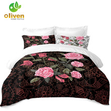 3D Rose Bedding Set Lotus Flowers Printed Duvet Cover Cartoon Birds Design Valentines Day Couples Quilt D30
