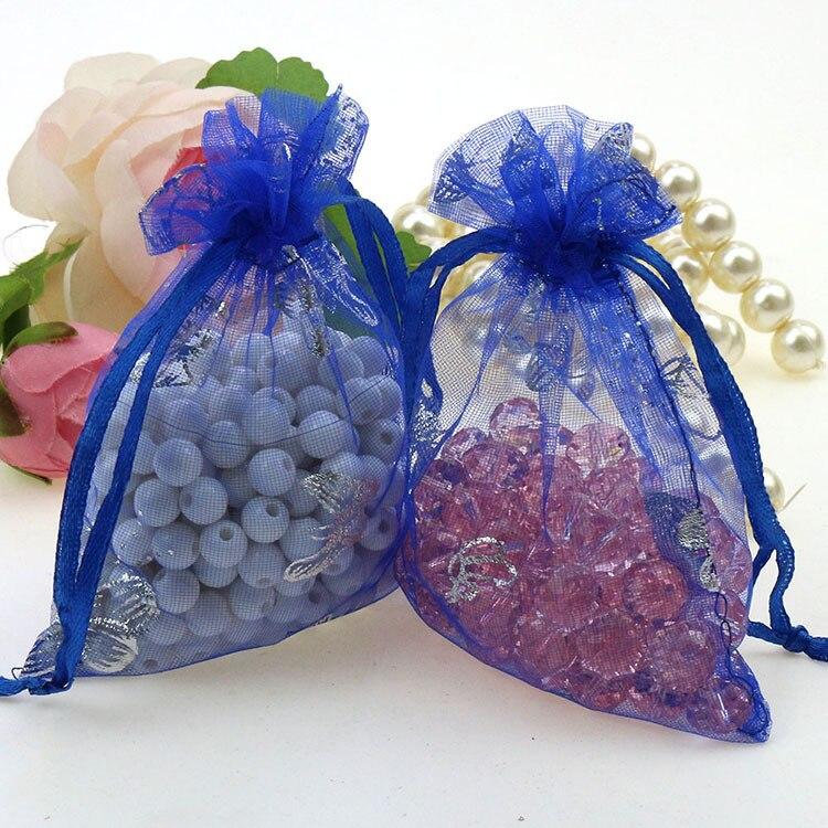 2a3ae979c Mariposa azul joyería del organza Bolsas organza barato Bolsas de tela  embalaje Bolsas para la joyería 9x12 cm 100 unids/lote al por mayor