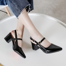 Big Size 11 12 13 14 ladies high heels women shoes woman pumps Square heel and shallow rear strap single shoe
