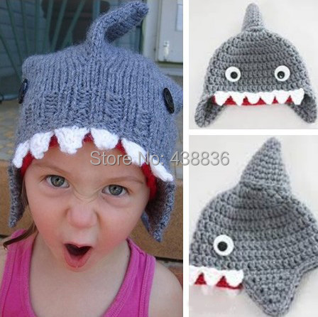 Free Shipping Crochet Knitted Cartoon Animal Shark Hat Newborn