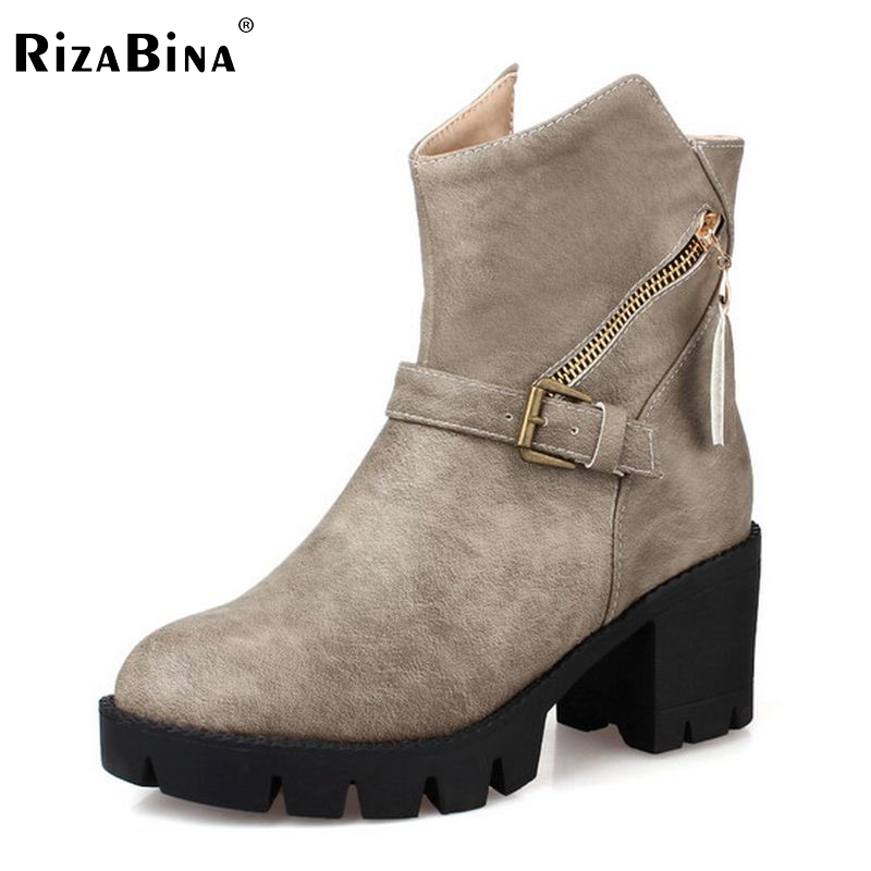 New brand 2016 women boots platform high-heeled thick heel lacing casual shoes with zipper good quality Size 33-43 luxury good quality new fashion women zipper jumpsuit slim fit skinny jeans rompers pocket denim jumpsuits size sexy girl casual