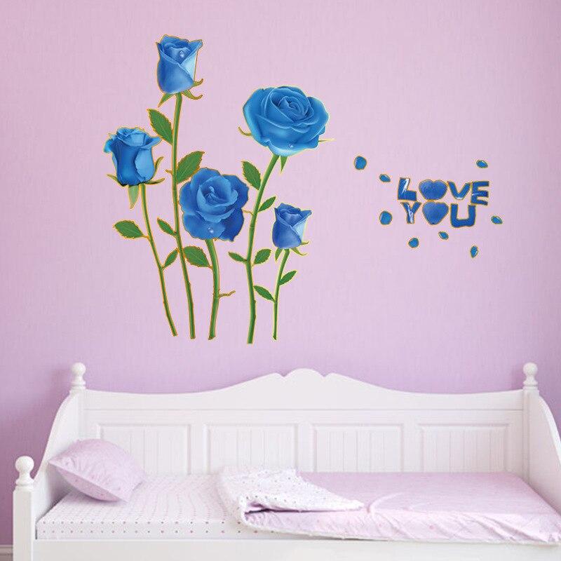Romantic Love 3D Blue Rose Flower Wall Sticker Home Decor Living ...