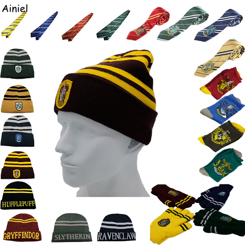 10 PCS LOT Hermione Hats Ties Gloves Socks Scarf Gryffindor Slytherin Hufflepuff Ravenclaw Cap Cosplay Costumes for Men Women