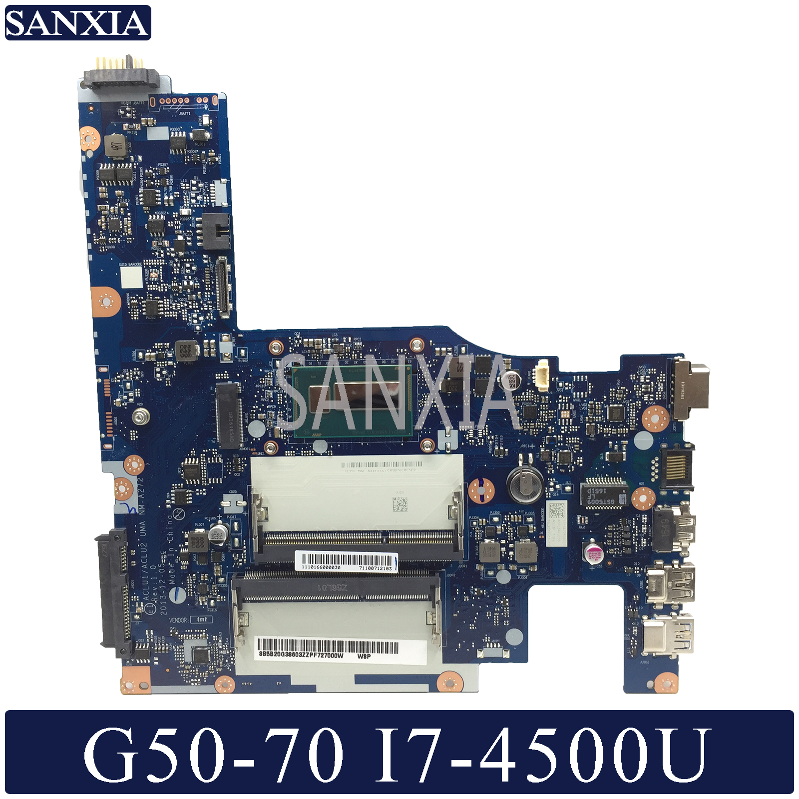 KEFU NM A272 Laptop motherboard for Lenovo G50 70 Test original motherboard I7 4500U