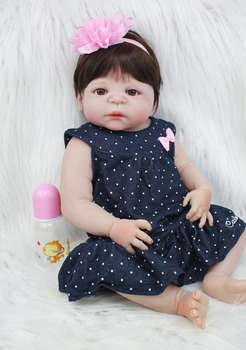 55cm Full Silicone Reborn Baby Doll 22 Vinyl Newborn Princess Girl Toddler Doll with Blue