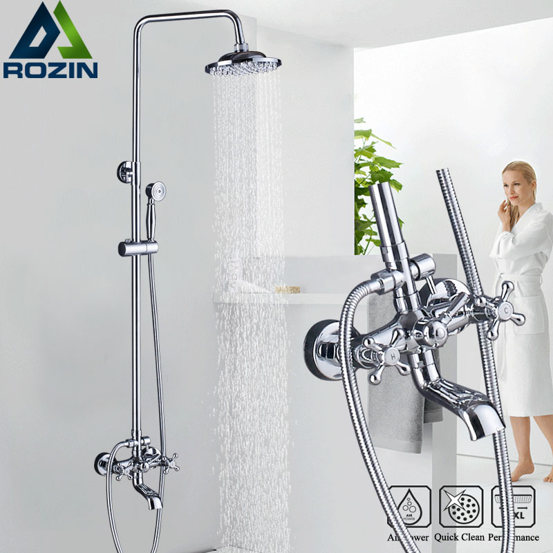 Bathroom Shower Faucet Dual Handle Rainfall 8  Showerhead Chrome Wall Mounted Bath Shower Kit with Handshower Swive Tub Spout chrome bathroom thermostatic mixer shower faucet set dual handles wall mount bath shower kit with 8 rainfall showerhead
