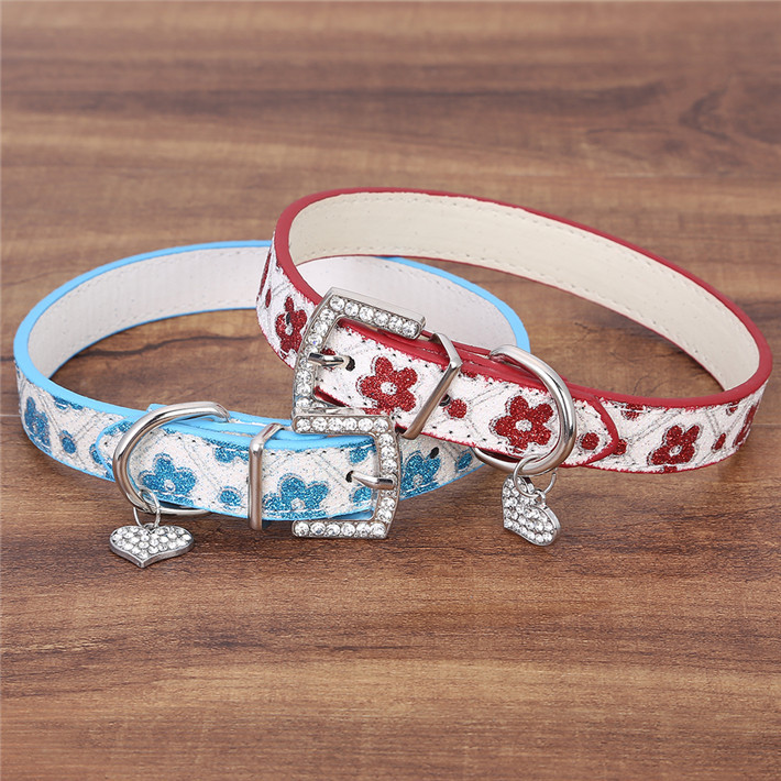 High Quality Glitter Flower Print Pet Dog Collar Cute Flower Puppy Strap Size XS S M Free Shipping