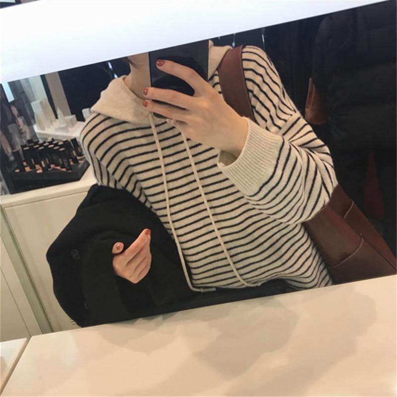 겨울 후드 스트라이프 캐시미어 울 스웨터 pulloverers jech 2018 새로운 캐주얼 느슨한 여성 긴 소매 스웨터 니트 스웨터-에서풀오버부터 여성 의류 의  그룹 3