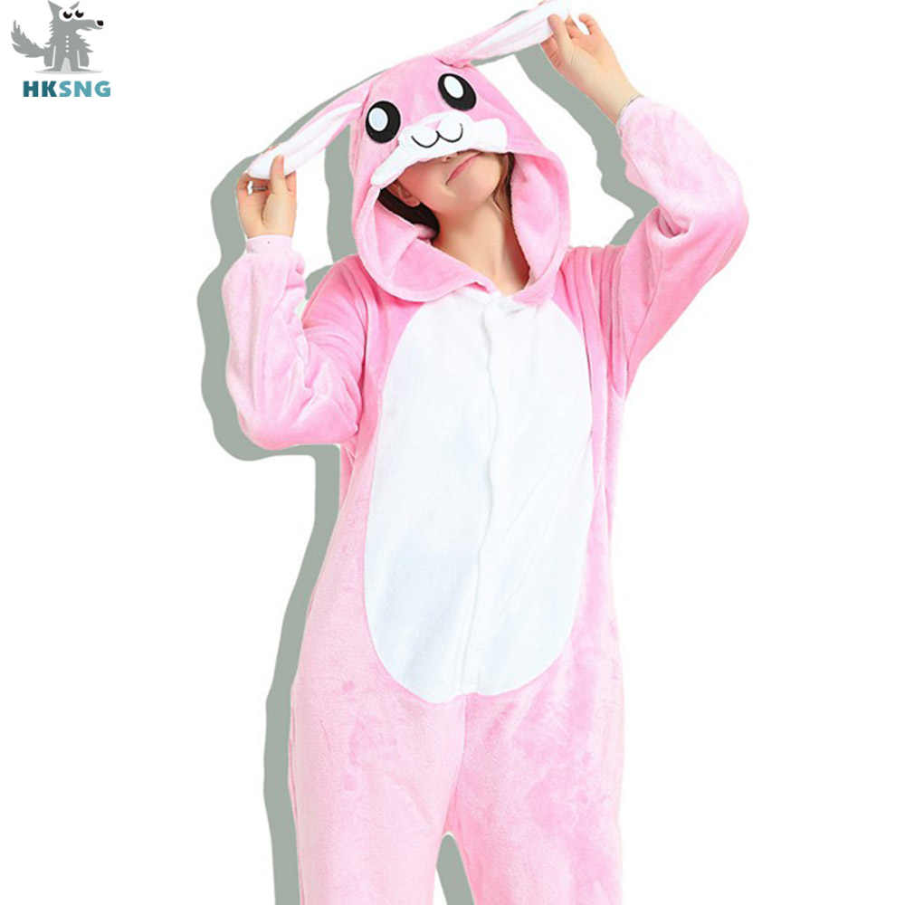 HKSNG Animal Adult 3D Kigurumi Rabbit Onesies Flannel Family Party Cartoon Pink Blue Bunny Pajamas Cosplay Costumes Sleepwear