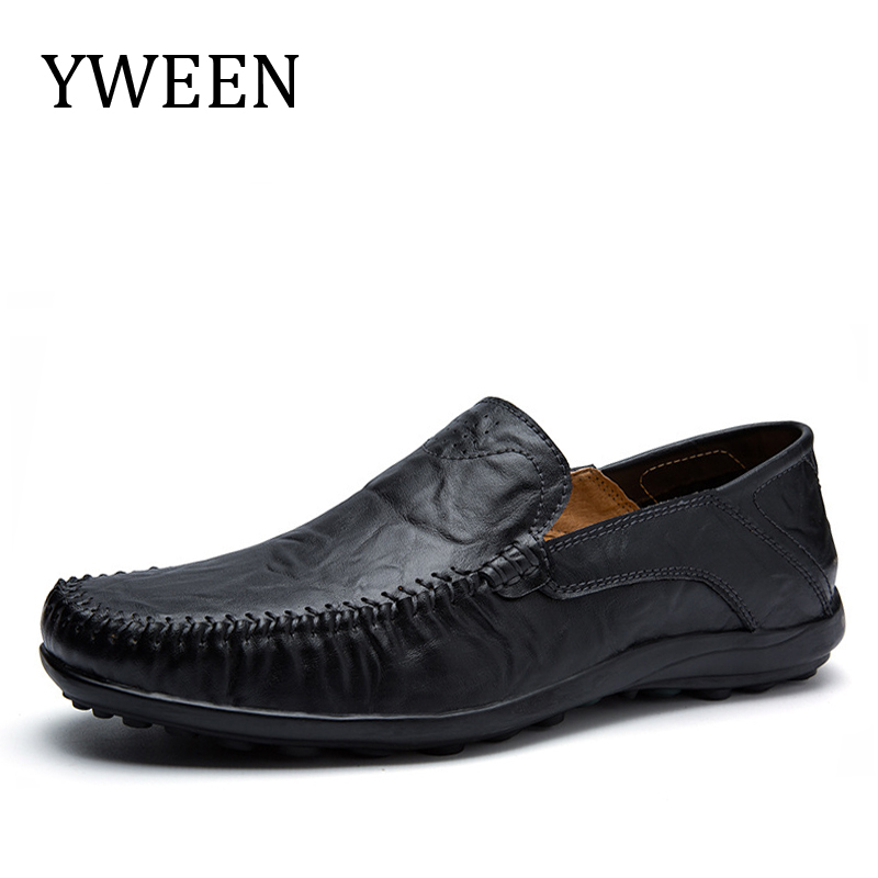 YWEEN Casual Driving Shoes Split Leather Men Shoes 2018 Spring Men Loafers Luxury Flats Shoes size 37-47 branded men s penny loafes casual men s full grain leather emboss crocodile boat shoes slip on breathable moccasin driving shoes