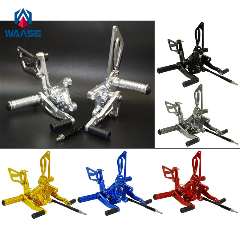 waase Motorcycle CNC Adjustable Rider Rear Sets Rearset Footrest Foot Pegs For SUZUKI GSXR 600 750 2000 2001 2002 2003 2004 2005 mfs motor front rear brake discs rotor for suzuki gsxr 600 750 1997 1998 1999 2000 2001 2002 2003 gsxr1000 2000 2001 2002 gold