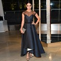 Black Sheer Neck Formal Evening Dress Simple Design Short Front Long Back Satin Celebrity Fashion Gowns