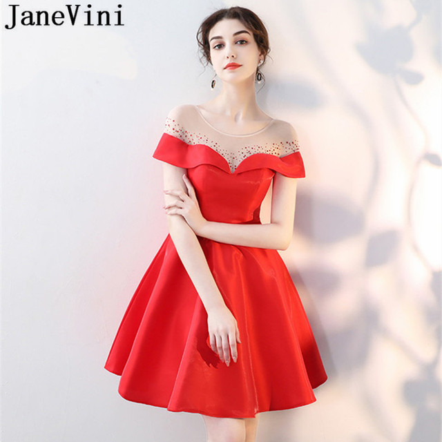 JaneVini Sexy Illusion Neck Beaded Short Prom Dresses Mini Formal Wear Red  Satin Bridesmaid Dresses Girl Wedding Party Gown 2018 0681a7e0ab52