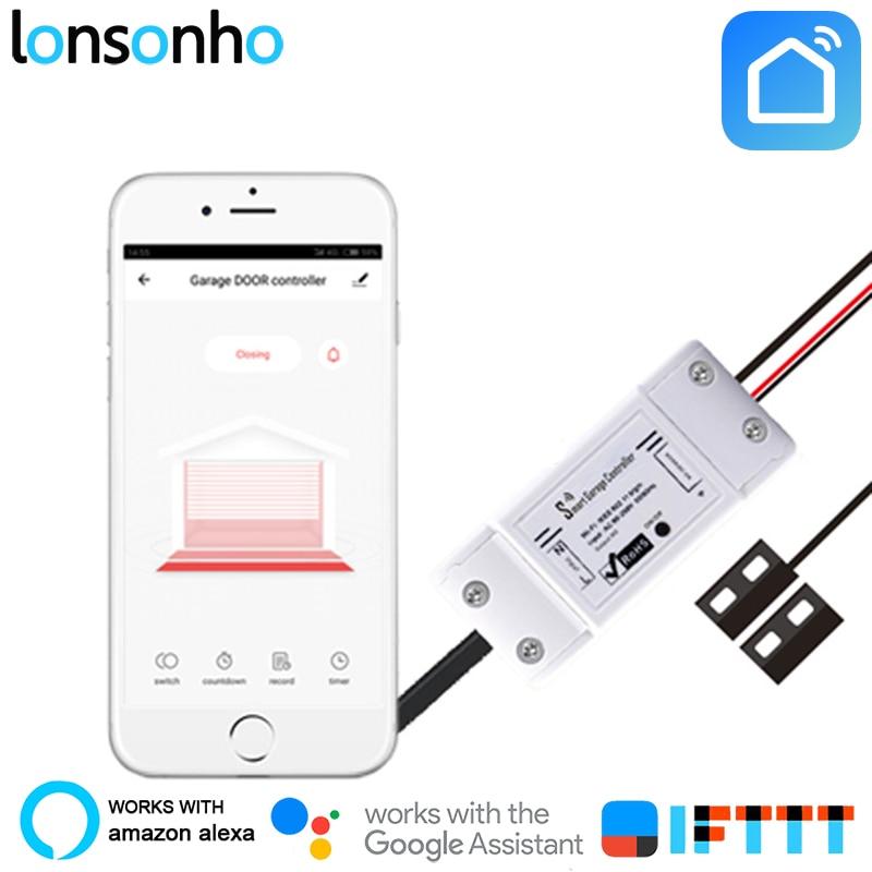 Lonsonho Smart Garage Door Opener Remote Control Smart Switch Relay Door Open Works With Alexa Google
