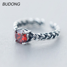 BUDONG Real 925 Sterling Silver Ring for Women Fashion Garnet Red Stone Textural Mid Ring Open Cuff Resizable Band Fine Jewelry