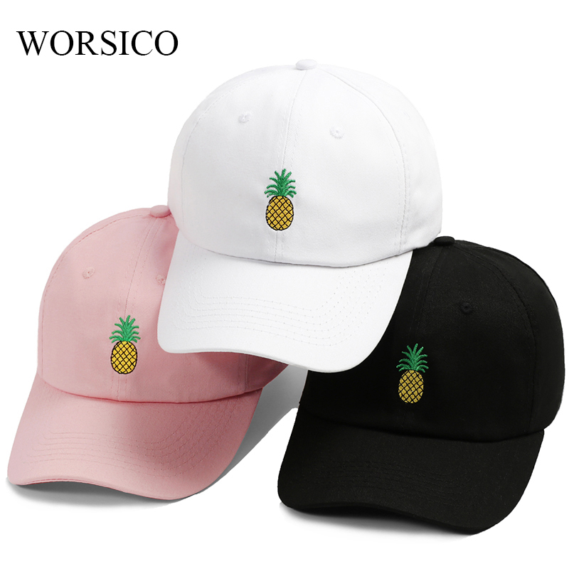 e0634a17cf329 Detail Feedback Questions about Drop Shipping Pineapple Embroidery Baseball  Cap Women Men 100% Cotton Dad Cap Fruit Snapback hip hop Dad Hat Trucker ...