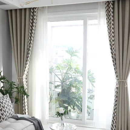 Sur mesure français fenêtre rideau couverture Dressing Ins vague européenne géométrique 2 m x 2.6 m 2 pièces lac bleu kaki gris - 3