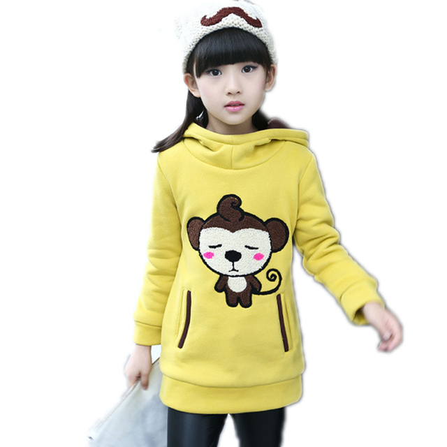 Kids Sweatshirt Baby Girls Hoodies Outdoor Cartoon Monky Sweatshirts Girls South Korea Style Thickness Winter Long Clothing