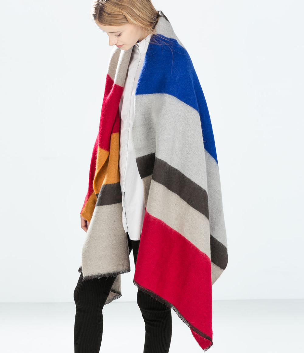Brand Poncho Cashmere Wool Scarfs Pashmina Fashionable Women Winter Colorful Scarf Blanket Bufanda Manta - zoe trade co., ltd store