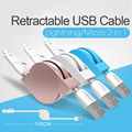 10pcs 1M/1.5M 2 in 1 retractable USB fast charging Cable 8 pin For iPhone 7 5s 6 6 plus and micro android use cable for iphone