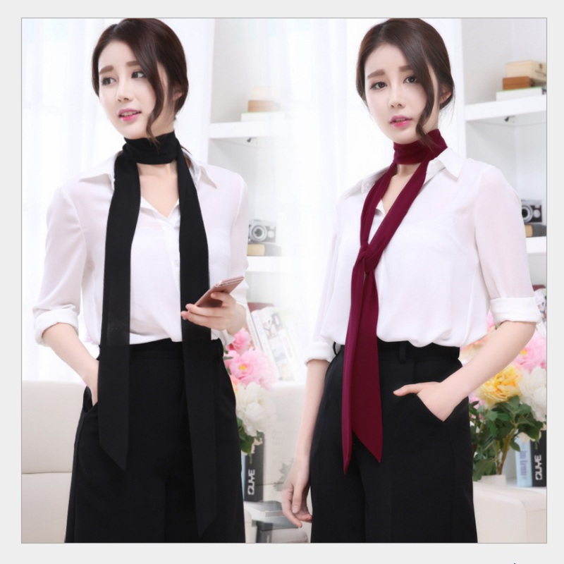 Women Skinny Narrow scarf women scarves spring and summer solid color chiffon long scarf belt black and white small scarf ribbon