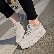 SWYIVY รองเท้าผ้าใบผู้หญิงรองเท้าสีดำ 2019 ใหม่ฤดูใบไม้ร่วงผู้หญิงลื่นบนรองเท้ารองเท้าผ้าใบรองเท้าสบายๆสำหรับสตรี Breathable size40