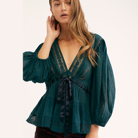 KHALEE YOSE Summer Sexy Lace Tunic Blouse Shirt Women Deep V Lace Up Sheer Hollow Out Long Sleeve White Green Blouses Top 2019