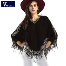 Women Tassel Sweater Poncho Batwing Sleeve Long Pullovers and Jumpers V neck Knitted Poncho Sweater Pull Femme burderry(China)