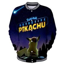 2019 New Pokemon Detective Pikachu 3D Print Baseball Jackets Women/Men Fashion Long Sleeve Jacket Casual Streetwear Clothes