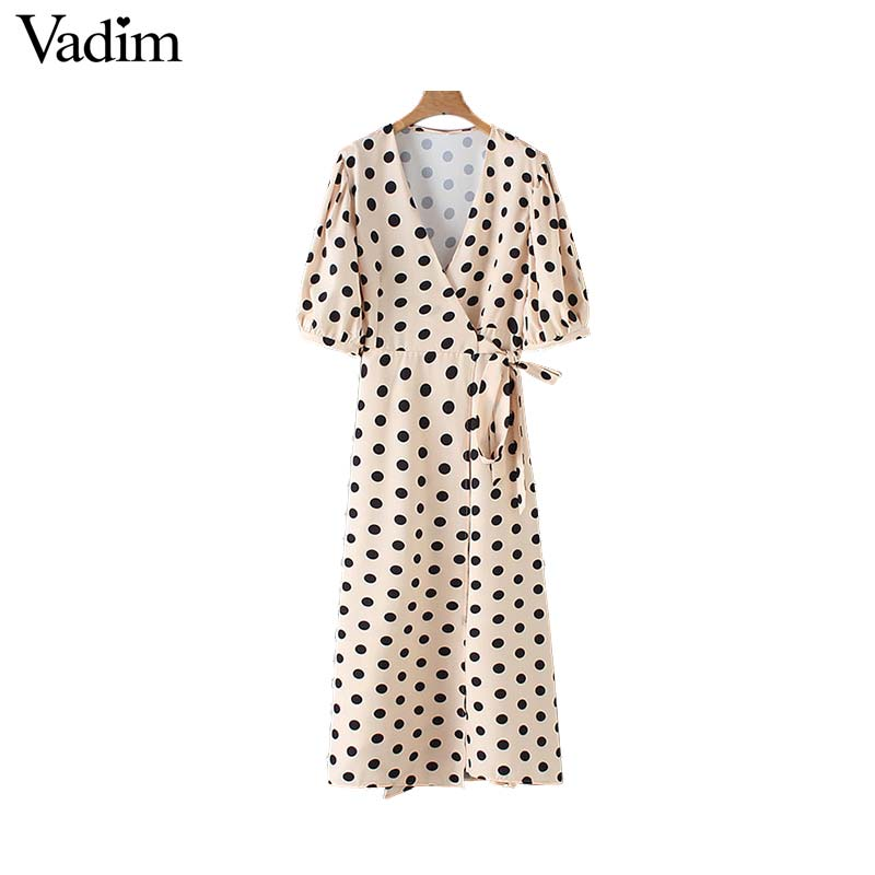 Vadim Women V Neck Dots Print Wrap Dress Bow Tie Sashes Lantern Sleeve Female Casual Mid Calf Dresses Chic A Line Vestido QB335