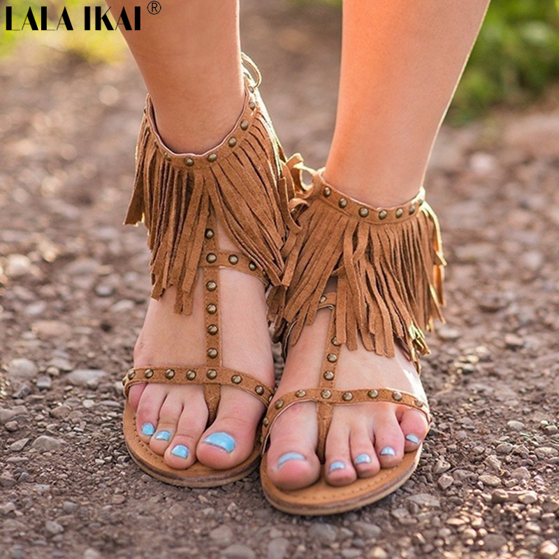 5b7b19affd64b LALA IKAI Women Bohemian Sandals Summer Flat Sandals Ladies Tassel Rivet  Sandals Flip Toe Gladiator Sandalia