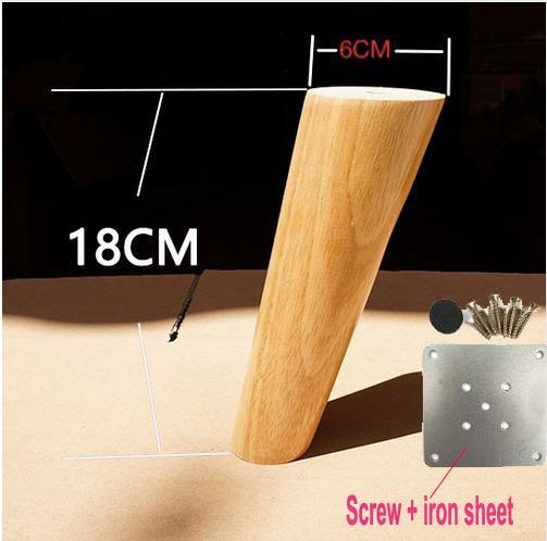 4Pieces/Lot H:18CM  Diameter:4-6cm  Furniture Accessories Oblique Sofa Wood Legs Solid  Wood TV Cabinet Table Foots