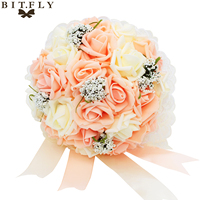 El yapımı Yapay Ipek Çiçekler Buket Güller Düğün Buket Gelin Gelinlik Buketi Dantel Dekor Düğün Bouquet de mariage