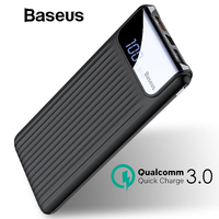 Baseus 10000mAh Power Bank Dual USB Quick Charge Powerbank Portable Fast Mobile Phone Power Bank Charging For iPhone X Xs Xiaomi