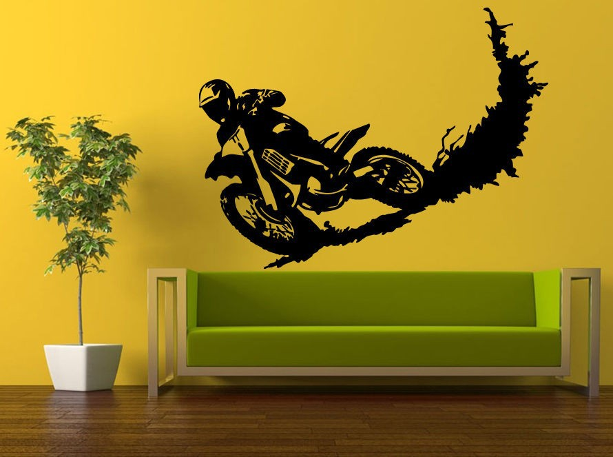 Motocross Racing Stunt Dirt Bike Biker Removable Vinyl Wall Sticker Boys Room Motobike Wall Decal Bedroom