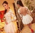 2015 Новый Стильный Аппликация Короткие Коктейльные Платья Sexy Backless Кружева прозрачный Длинные Рукава Партия Платье платья партии