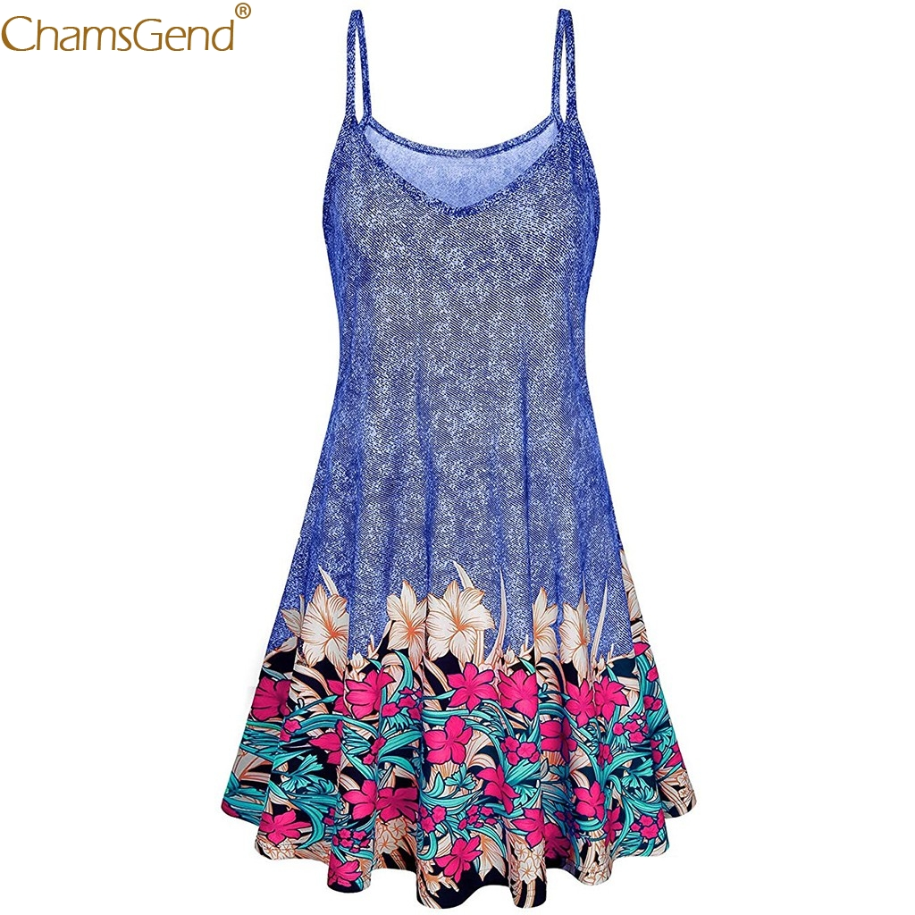 Sleeveless Adjustable summer dress 2019 for girls wedding dress beach short boho plus size Bohemian Blue Mar